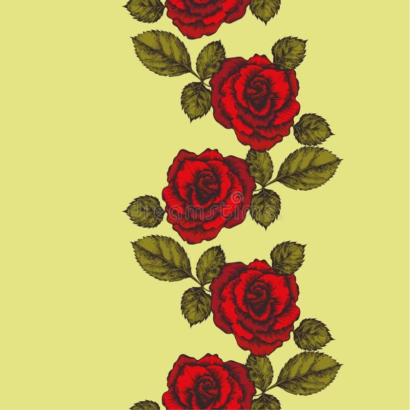 Bezszwowy tło z róża ornamentem również zwrócić corel ilustracji wektora jp ilustracji