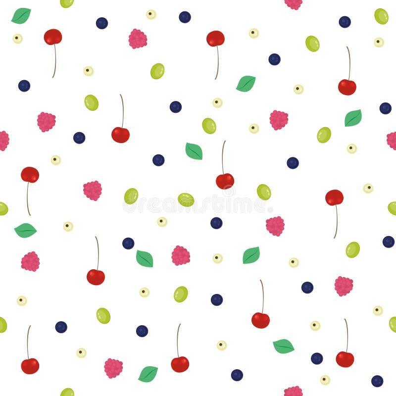 Bezszwowy tło z różnorodnymi jagodami Wiśnie, malinki, winogrona, czarne jagody, rodzynki ilustracji