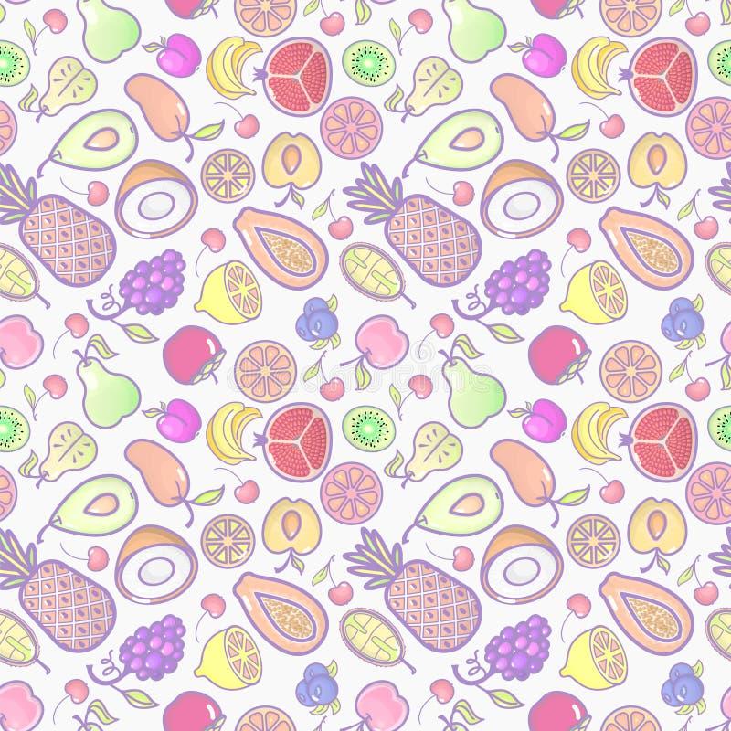 Bezszwowy tło z różnorodnymi tropikalnymi owoc na bielu Wektorowy owoc wzór ilustracji