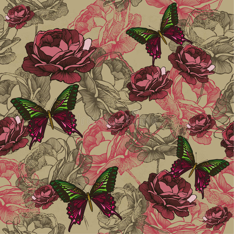 Bezszwowy tło z rocznik różami i motylami, bębeny ilustracja wektor