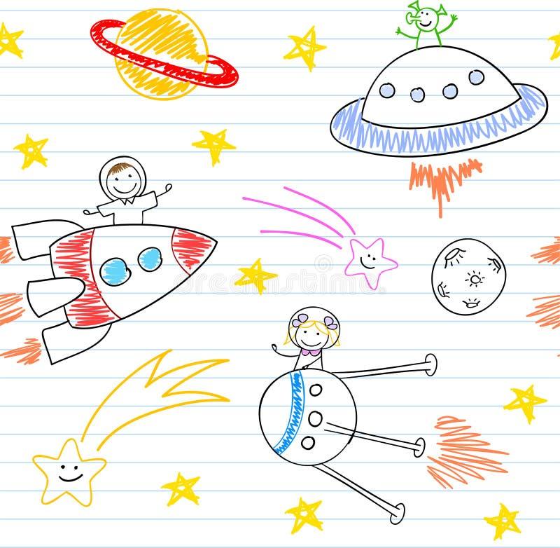 Bezszwowy tło z szczęśliwymi children i obcym ilustracja wektor