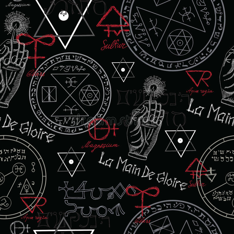 Bezszwowy tło z tajemniczymi symbolami na czerni royalty ilustracja
