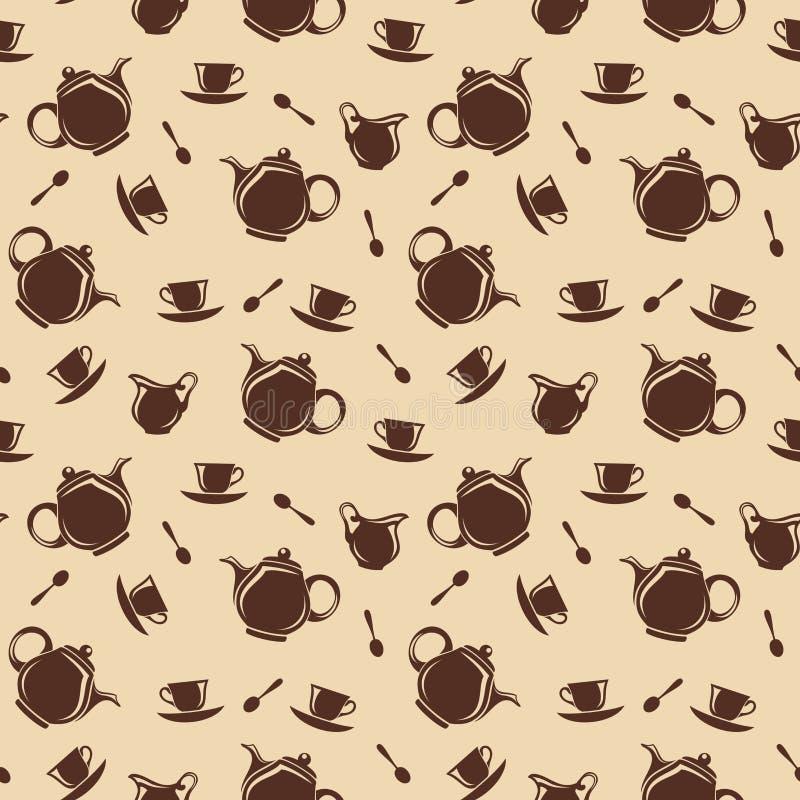 Bezszwowy tło z teapots i filiżankami również zwrócić corel ilustracji wektora ilustracji