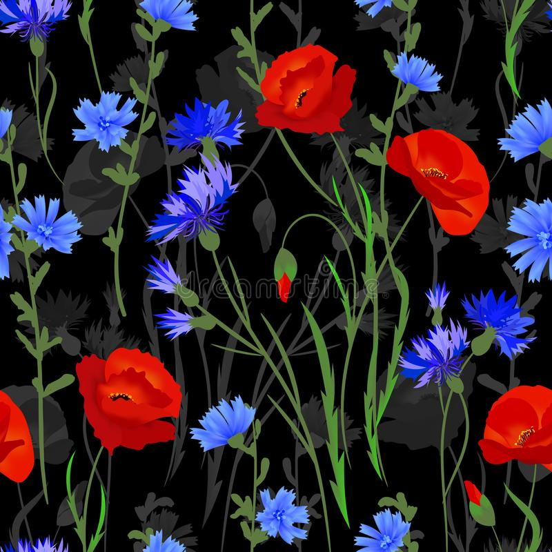 Bezszwowy tło z wildflowers Wektorowa akwareli imitacja ilustracja wektor