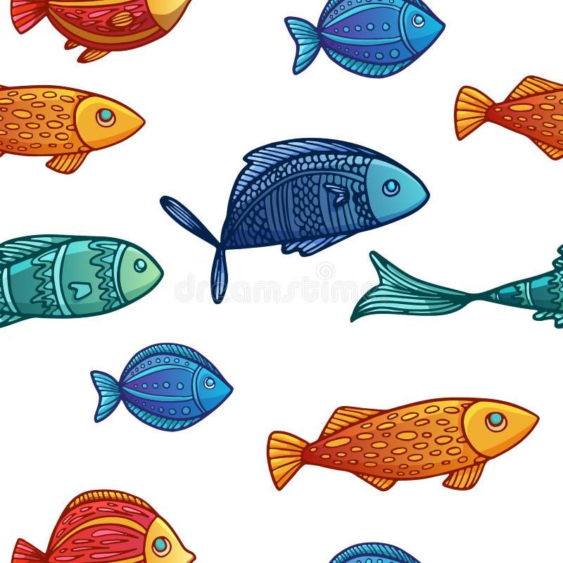 Download Bezszwowy Tło Z Wzorem Barwiony Ilustracja Wektor - Ilustracja złożonej z egzot, połów: 57661198