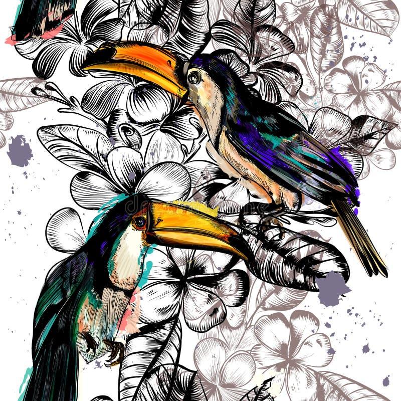 Bezszwowy tapeta wzór z tropikalnymi kwiatami i pieprzojada ptakiem ilustracji