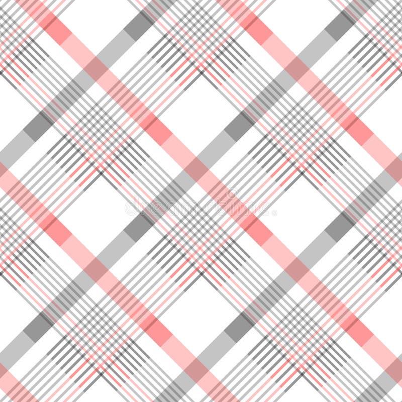 Bezszwowy tartan szkockiej kraty wzór w lampasach czerwień, czarny i biały W kratkę diagonal tkaniny tekstura Wektorowy swatch dl ilustracja wektor