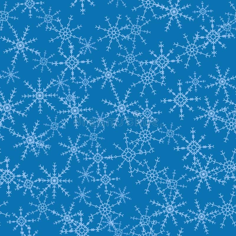 Bezszwowy tekstura płatka śniegu śniegu wzoru błękit ilustracja wektor