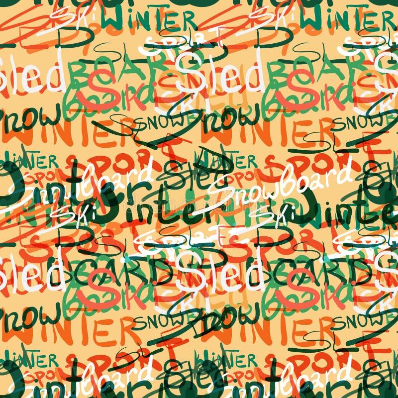 Bezszwowy tkanina wzoru zimy sporta literowania styl ilustracji