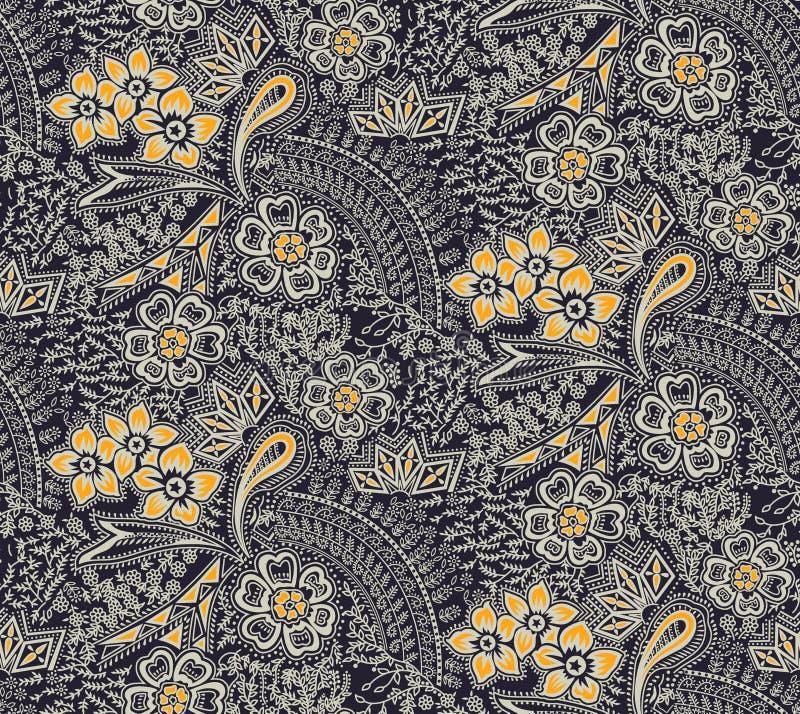 Bezszwowy tradycyjny jedwabniczy projekta kwiatu wzoru tło ilustracji