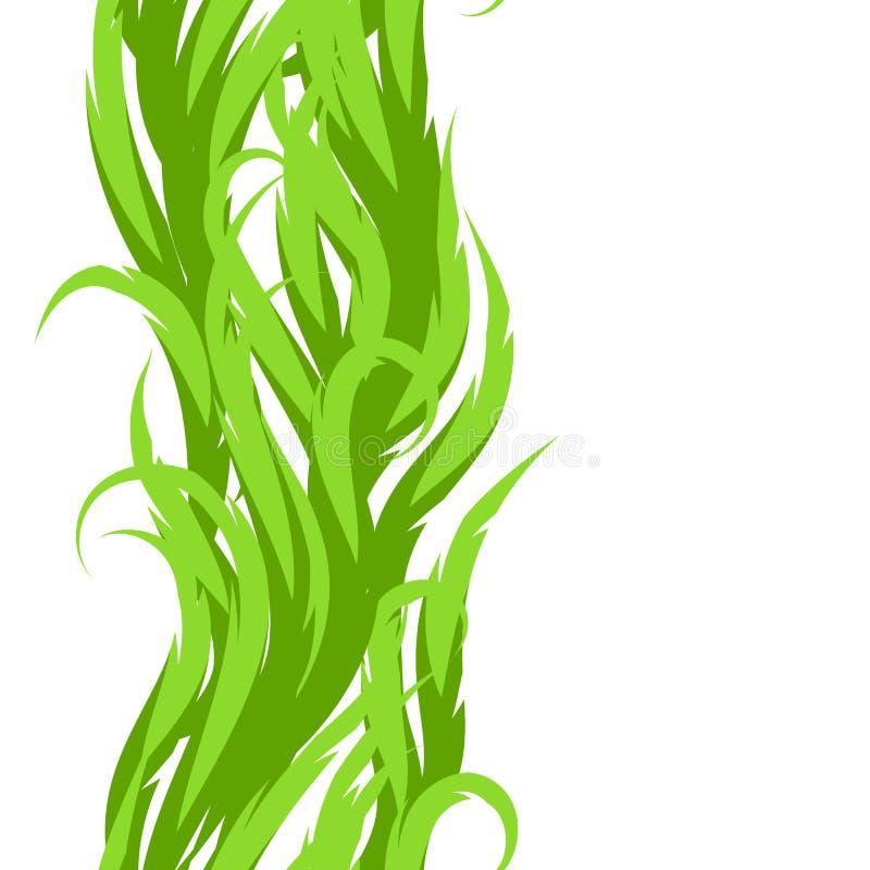 bezszwowy trawa abstrakcjonistyczny wzór Dekoracyjny ornament z zielonymi fala swirly ilustracji