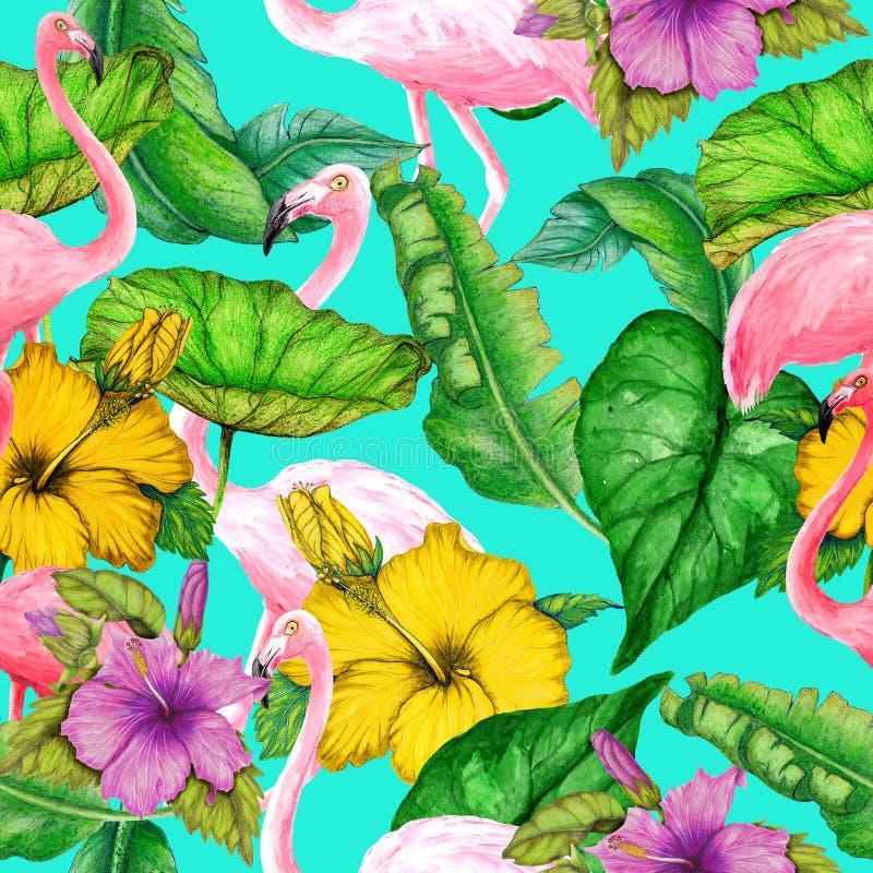 Bezszwowy tropikalny wzór kwiaty, flamingi i liście akwareli, royalty ilustracja