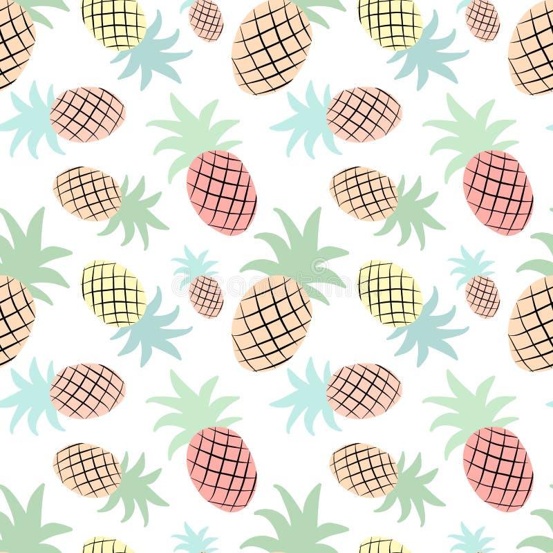 Bezszwowy tropikalny wzór z ananasem Wektorowa lato ilustracja flaming dla dzieciaków, tkaniny, tło, pepiniera, ilustracja wektor
