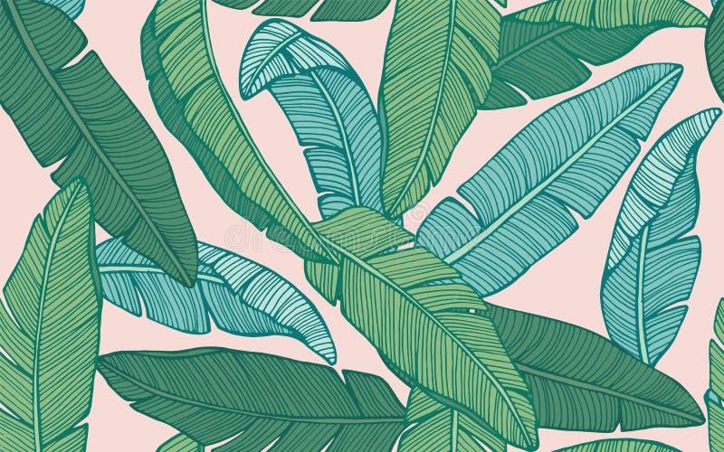 Bezszwowy tropikalny wzór z bananowymi liśćmi ręka patroszony wektor ilustracja wektor