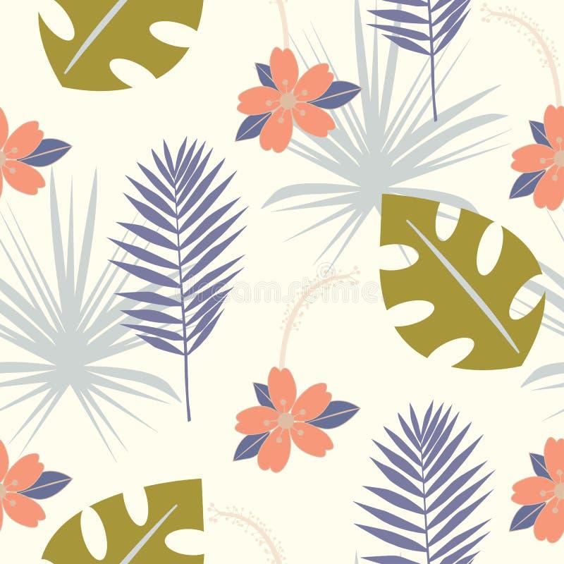 Bezszwowy tropikalny wzór z dzikimi kwiatami, ziele i liśćmi, Kwiecisty projekt z roślinami jako tekstura, tkanina, odziewa Wekto royalty ilustracja