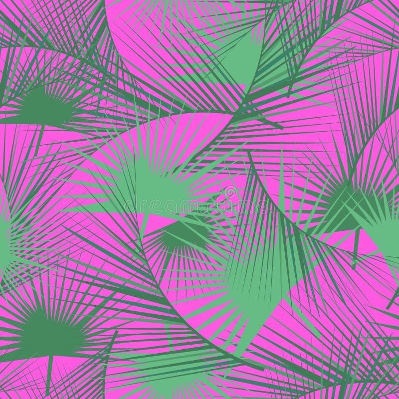 Bezszwowy tropikalny wzór z zielonymi palmowymi liśćmi Dżungli tekstura Doskonalić dla tapet, deseniowe pełnie, stron internetowy ilustracji