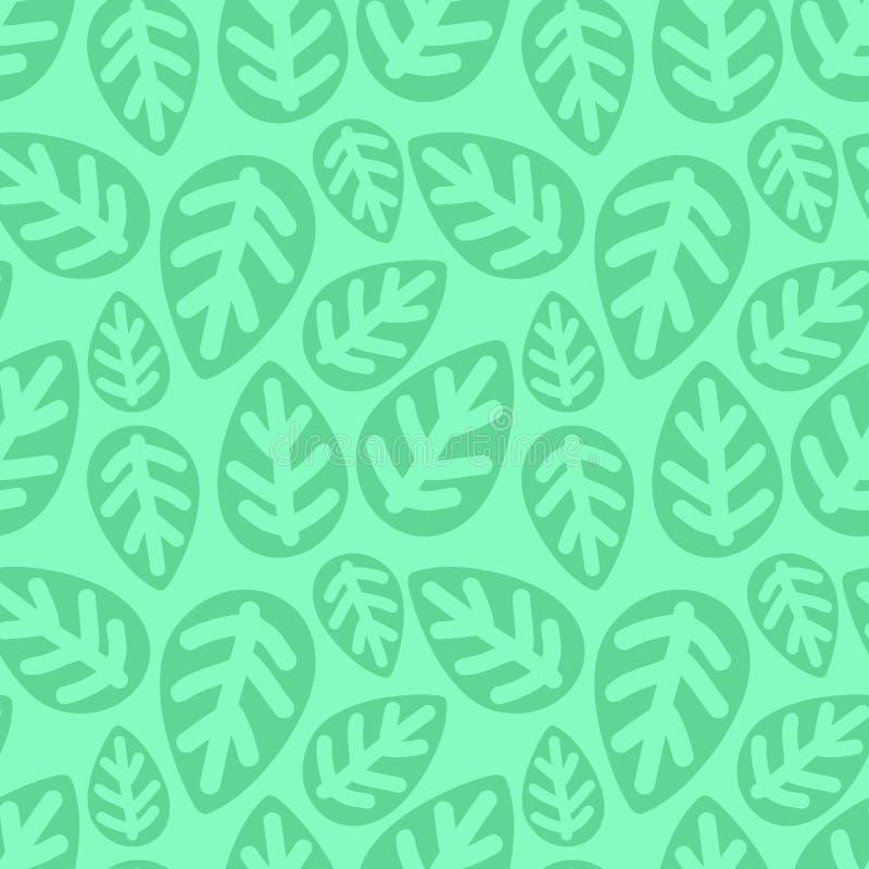 Bezszwowy tropikalny wzór zieleni liście Pociągany ręcznie liść ilustracja dla dzieciaków, lato, wiosna, pepiniera, dziecko, dzie ilustracji