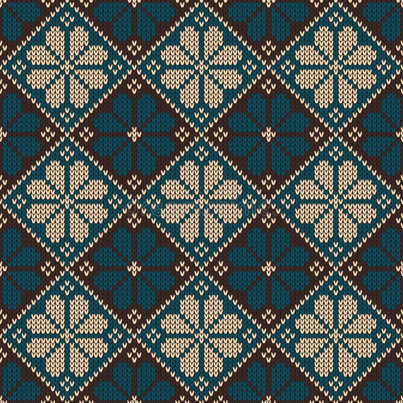 Bezszwowy trykotowy ornamentacyjny wzór Wektorowy Illust ilustracja wektor