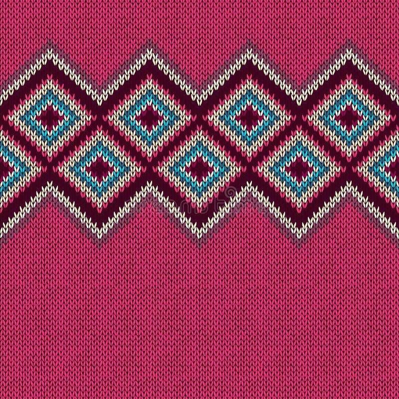 Bezszwowy trykotowy wzór z rhombus ornament dekoracyjny Geometryczny tło z tekstylną teksturą royalty ilustracja