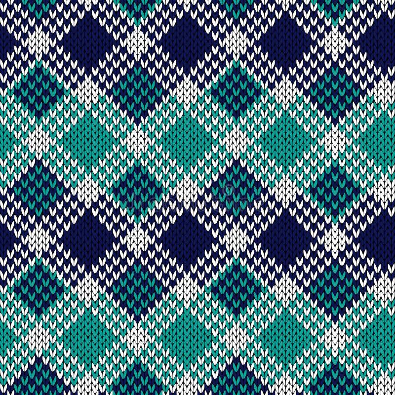 Bezszwowy trykotowy wzór w błękitnym, turkusie i biel kolorach, royalty ilustracja