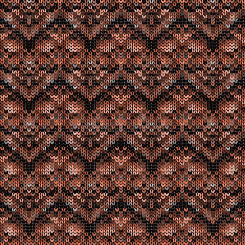 Bezszwowy trykotowy wzór w brązów brzmieniach royalty ilustracja