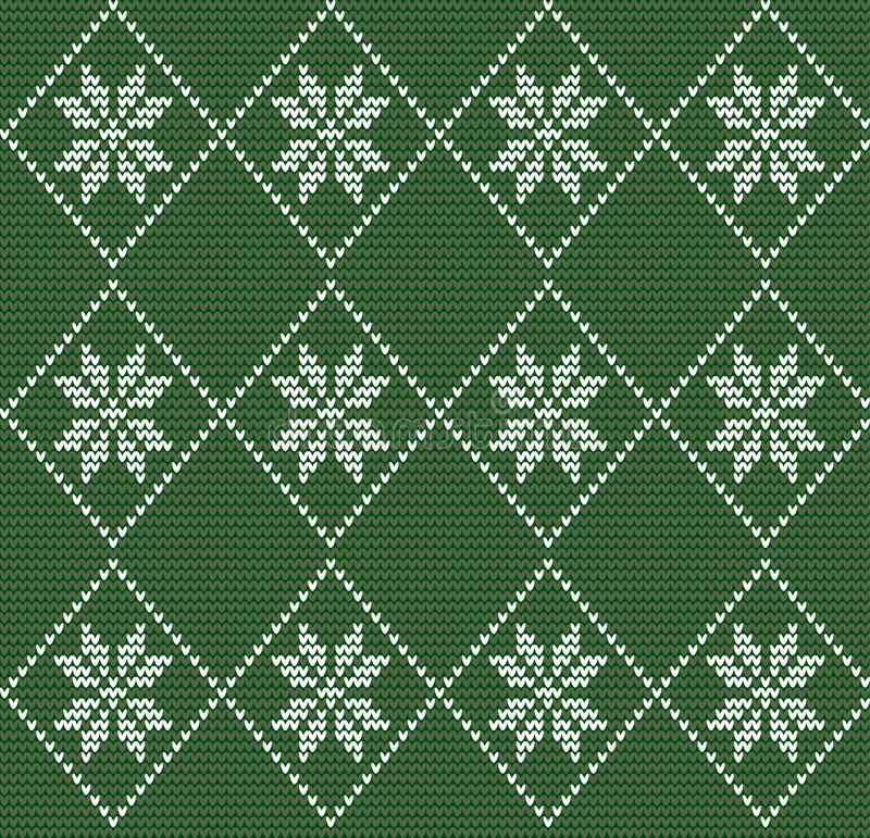 Bezszwowy trykotowy wzór w północnym stylu z białymi płatkami śniegu o ilustracji