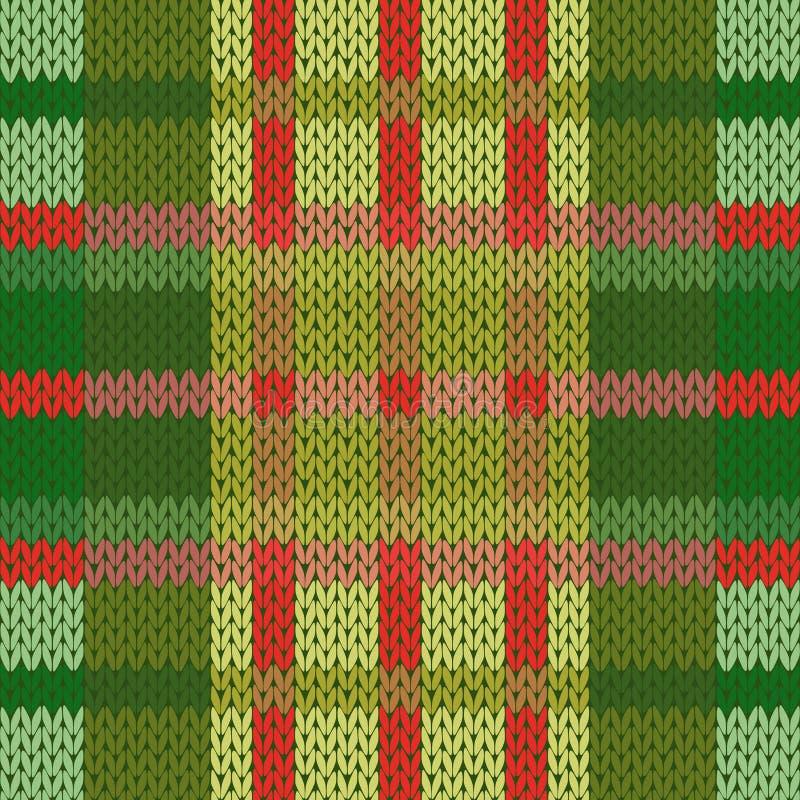 Bezszwowy trykotowy wzór w zielonych i czerwonych odcieniach ilustracji