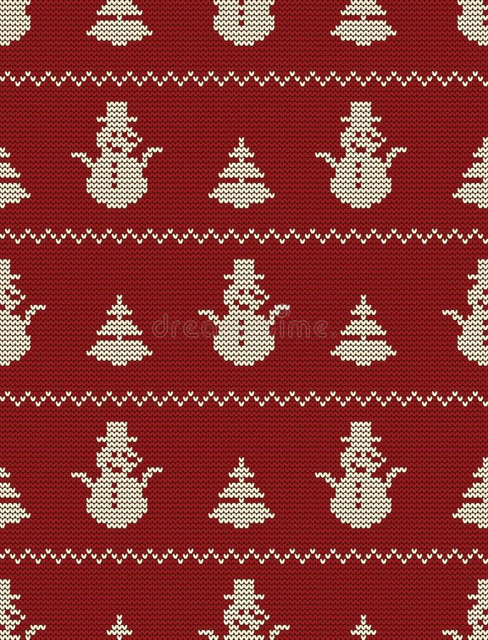 Bezszwowy trykotowy wzór z choinkami i bałwanami na czerwonym tle ilustracja wektor