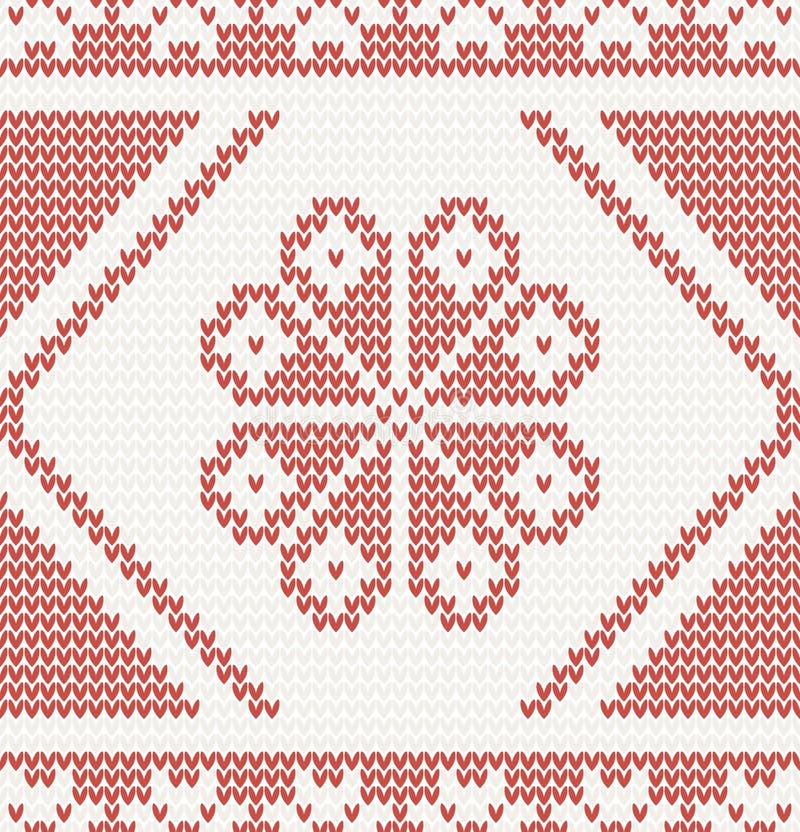Bezszwowy trykotowy wzór z czerwonym kwiatem ilustracja wektor