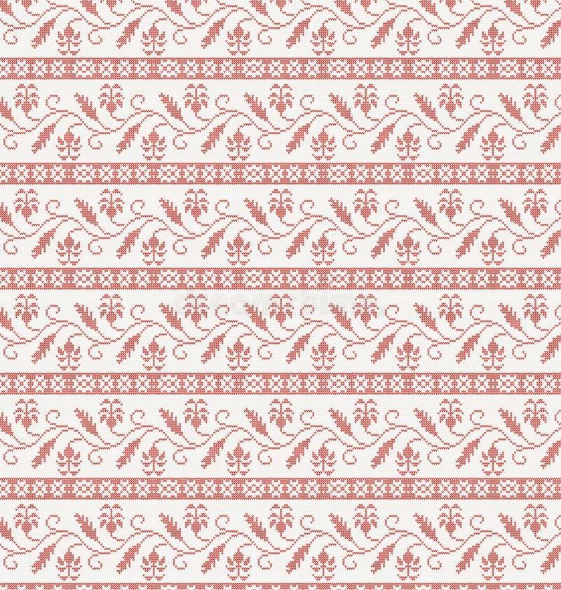 Bezszwowy trykotowy wzór z czerwonym kwiatem royalty ilustracja