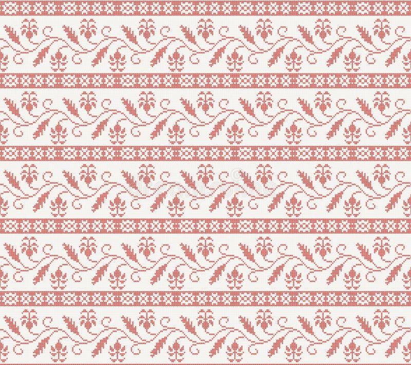 Bezszwowy trykotowy wzór z czerwonym kwiatem ilustracji