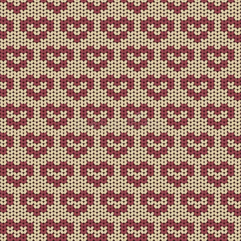 Bezszwowy trykotowy wzór z czerwonymi sercami royalty ilustracja
