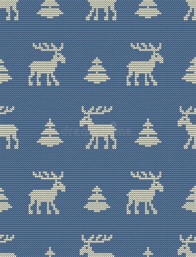 Bezszwowy trykotowy wzór z deers i jedlinowymi drzewami na błękitnym tle ilustracja wektor