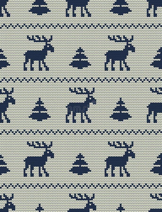 Bezszwowy trykotowy wzór z deers i jedlinowymi drzewami na białym tle royalty ilustracja