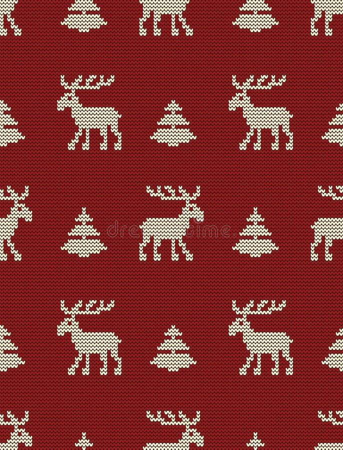 Bezszwowy trykotowy wzór z deers i jedlinowymi drzewami na czerwonym tle royalty ilustracja