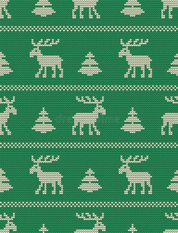 Bezszwowy trykotowy wzór z deers i jedlinowymi drzewami na zielonym tle ilustracja wektor