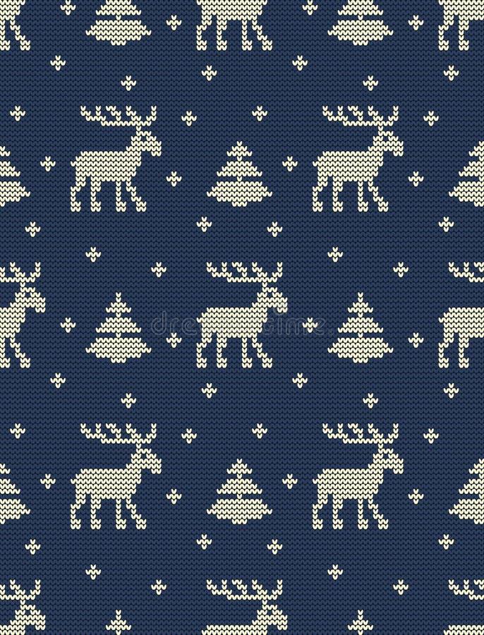 Bezszwowy trykotowy wzór z deers, jedlinowymi drzewami i płatkami śniegu na błękitnym tle, ilustracja wektor