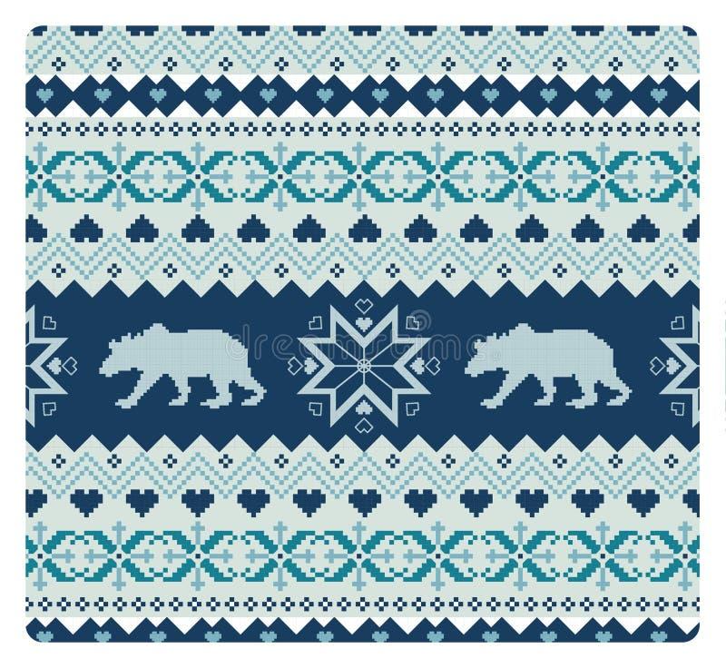 Bezszwowy trykotowy wzór z niedźwiedziami ilustracji