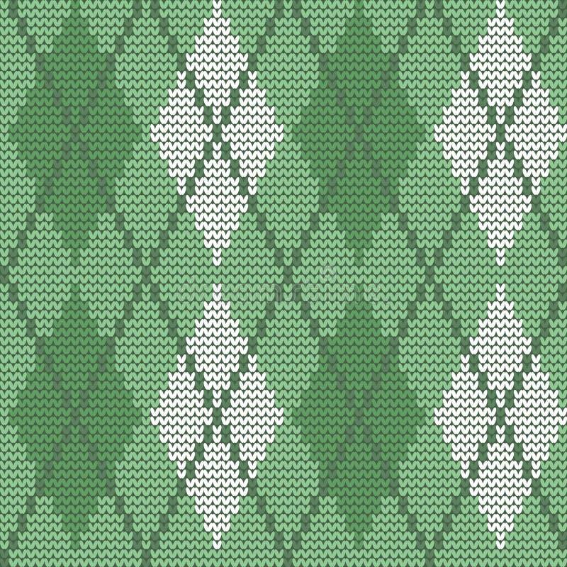 Bezszwowy trykotowy wzór z rhombuses W kratkę tło w zielonych kolorach ilustracji