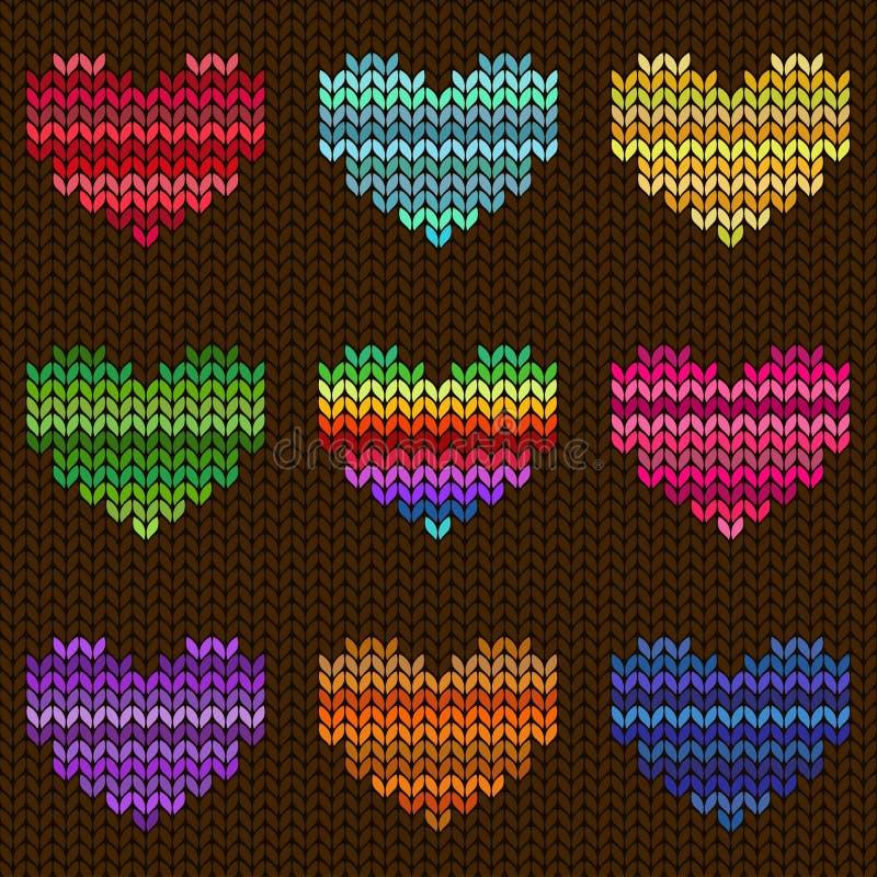 Bezszwowy trykotowy wzór z sercami royalty ilustracja