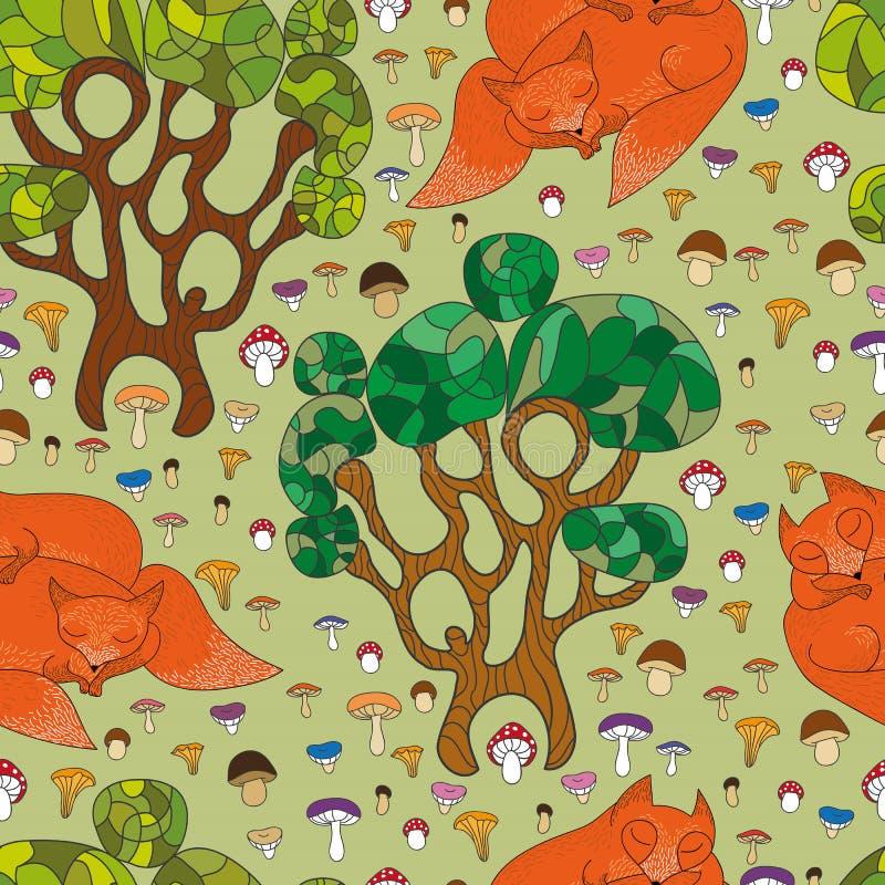 Bezszwowy tupocze ślicznych lisy ilustracja wektor