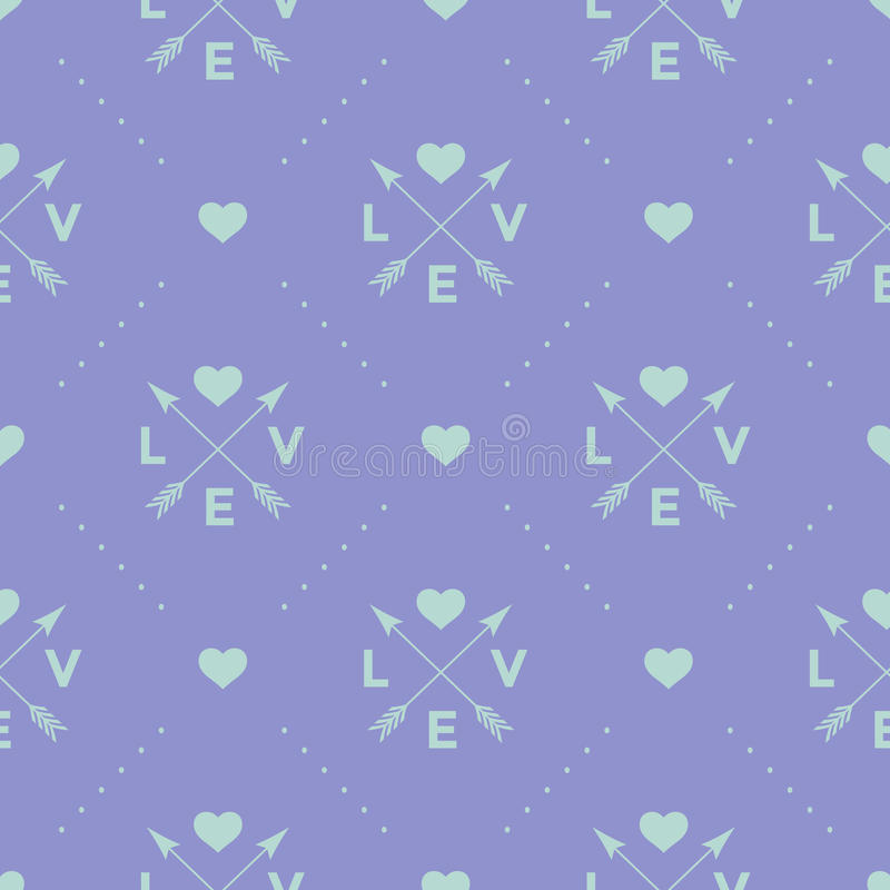 Bezszwowy turkusu wzór z na fiołkowym tle strzała, serca i słowa miłością, również zwrócić corel ilustracji wektora ilustracji