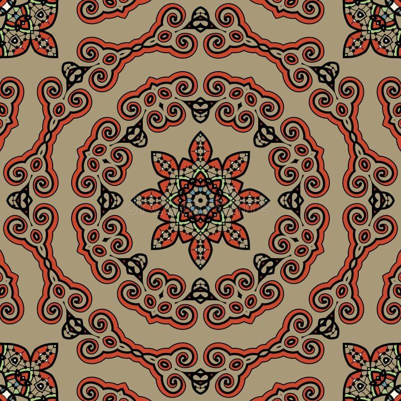 Bezszwowy Tybet stylu mandala Orientalna rocznik sztuka ilustracja wektor