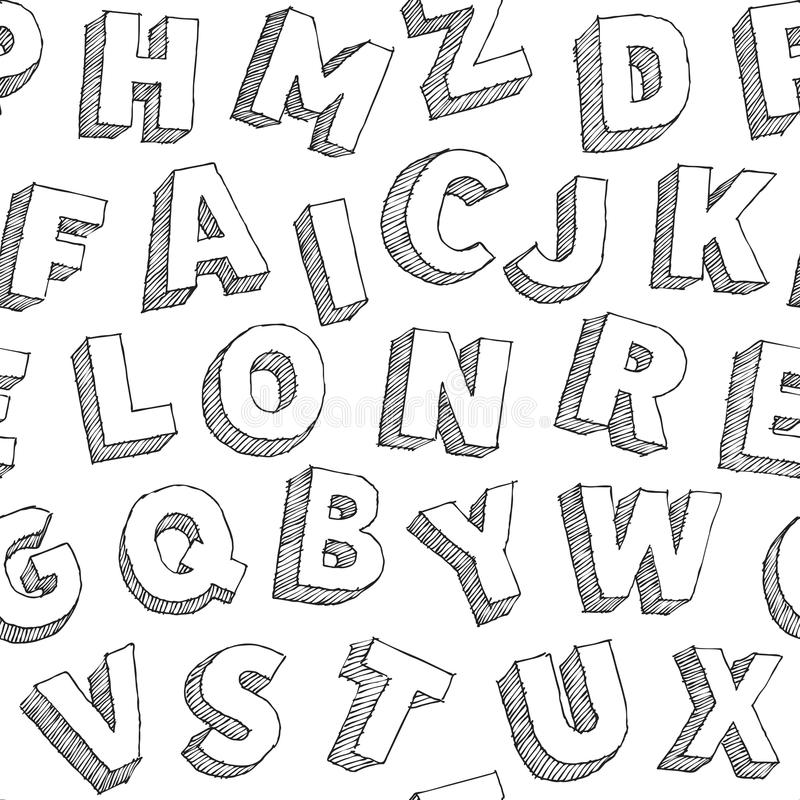 Bezszwowy typograhy wzór z ręka rysującymi wektorowymi abecadło listami na białym tle ilustracji