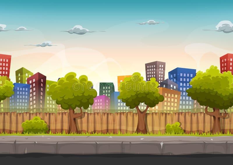 Bezszwowy Uliczny miasto krajobraz Dla Gemowego Ui ilustracja wektor