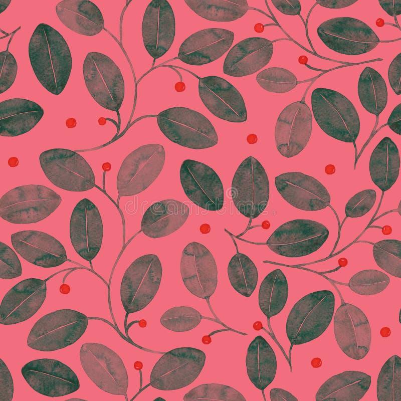 bezszwowy ulistnienia wzoru Akwarela czerwony abstrakt ilustracji