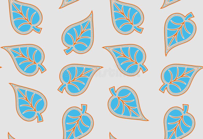 Bezszwowy unikalny dekoracyjny śmiały liścia wzór royalty ilustracja