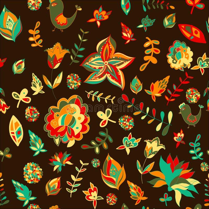 Bezszwowy ustalony stubarwny retro kwiatu wzór ilustracji