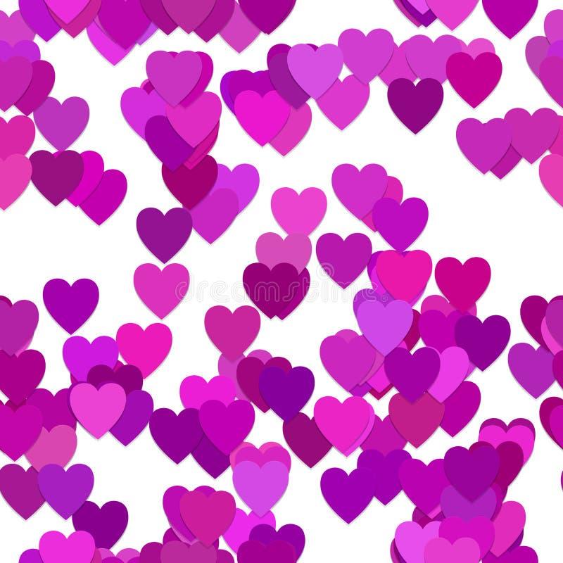 Bezszwowy valentines dnia tła wzór - wektorowa ilustracja od purpurowych serc z cienia skutkiem ilustracji