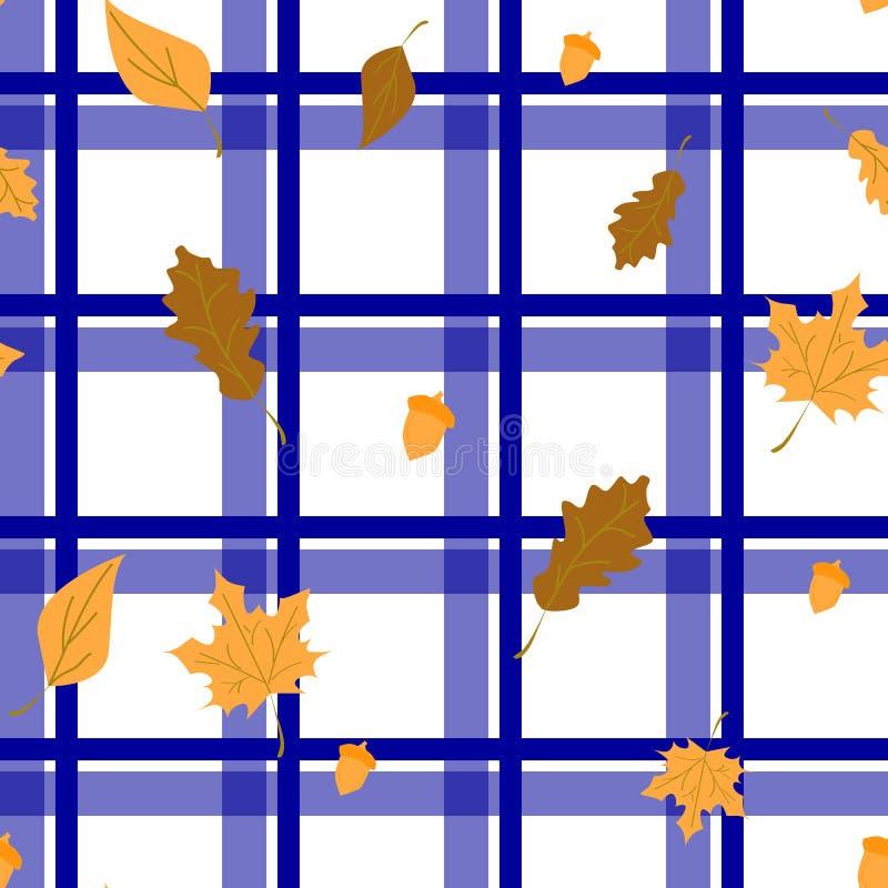 Bezszwowy w kratkę tło z liśćmi, purpura ilustracja wektor